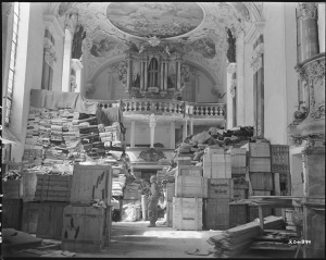 Courtesy of  the National Archives, http://www.archives.gov/research/holocaust/images.htmlGerman loot stored in church at Ellingen, Germany found by troops of the U.S. Third Army. 4/24/45.  RG 111-SC-204899